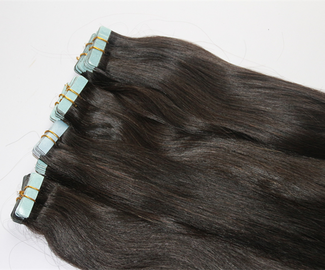 Unprocessed Virgin Hair Adhesive Tape in Cabelo Natural Humano Natural Black Natural Human Hair Pu Skin Weft 60cm 70cm 80cm