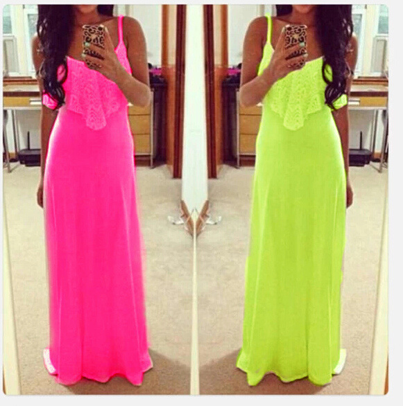 2015 new European fluorescent color explosion models lace dress vest harness length skirt foreign trade - NEW TO store