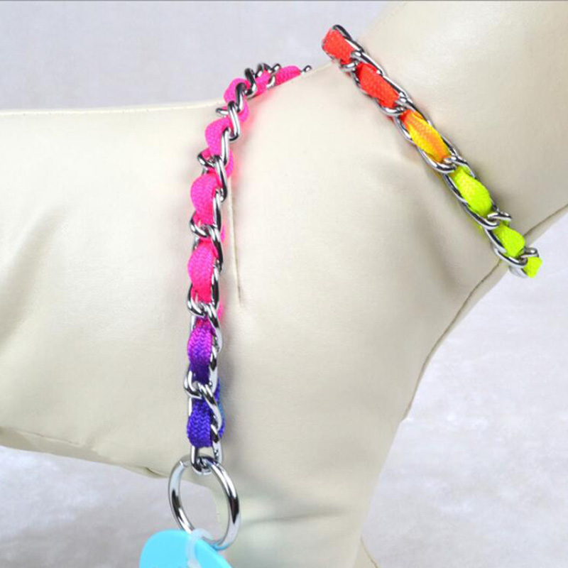 L Size New Fashion Colorful Pet P Chain Adjustable Training Dog Collar Pet Dog Cat Necklace Supplies 0237(China (Mainland))