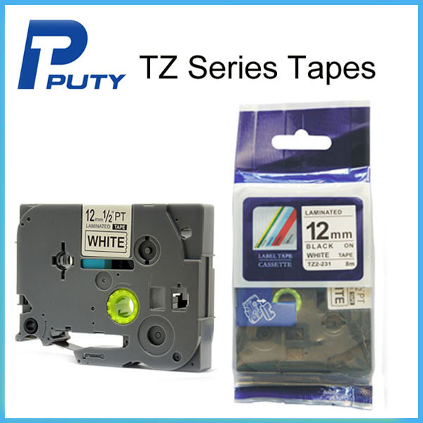 12mm Black on White Label Tapes Used For All PTouch label printers Free Shipping  <br><br>Aliexpress
