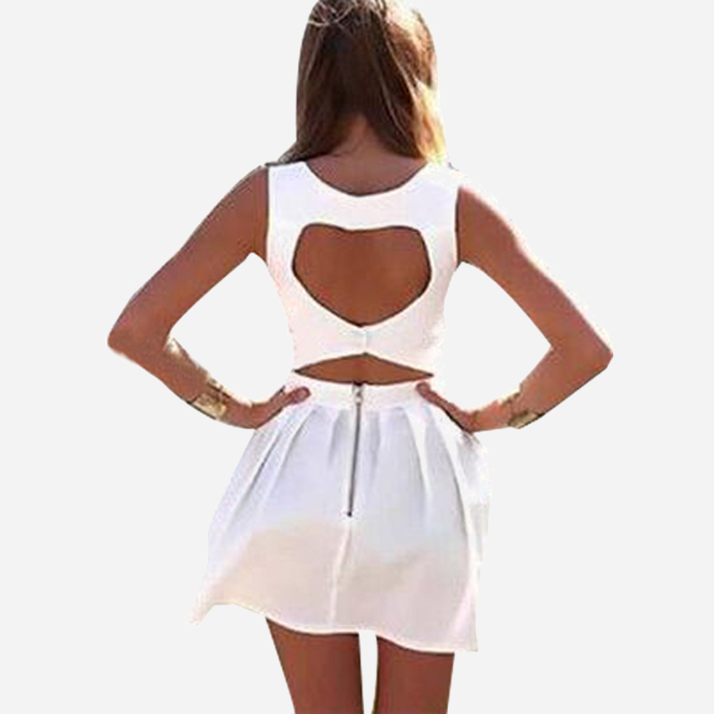 Cute Vestidos New 2015 Summer Sexy Heart Open Cut Out Back Backless Cocktail Party Mini Dress White/BlueBlack Sleeveless LQ8706B(China (Mainland))