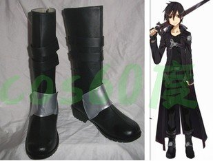Sword Art Online Cosplay Kirito Kazuto Kirigaya Boots SAO Black Pu leather Boy Men Shoes Costume