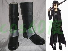 Sword Art Online Cosplay Kirito Kazuto Kirigaya Boots SAO Black Boy Men Shoes Costume