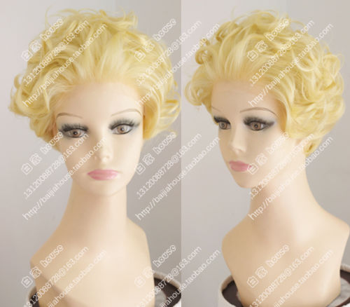 Free shipping !!! cosplay new Lace Front wig Golden Blonde Short curly wig Fashion sexy women wig<br><br>Aliexpress