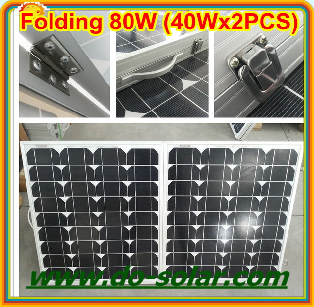 Free Shipping--80W Portable solar modules by 40Wx2PCS folded solar panels  for ,adventrue,exploration,road builting in  stock