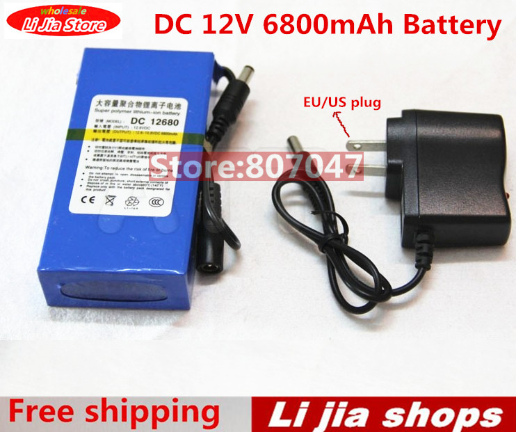 Portable Lithium Ion Battery, super capacitor DC 12V 6800mAh in Video Surveillance, Computer Aided Manufacture Free Shipping(China (Mainland))