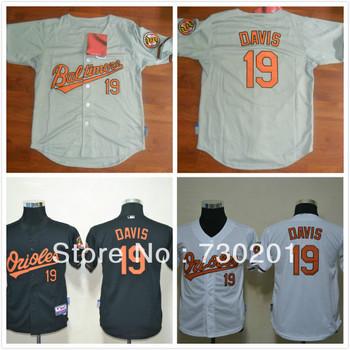 Free shipping 2013 cheapest Baltimore Orioles youth baseball jersey  #19 Davis White Black/Gray/white Cool Base size S M L XL