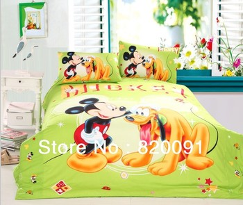 Happy Mickey Mouse with Pluto Cartoon Kids Bedding Bed Linen Doona Duvet Cover Set 3 or 4 pcs in Twin/Full/Queen, Emerald Green