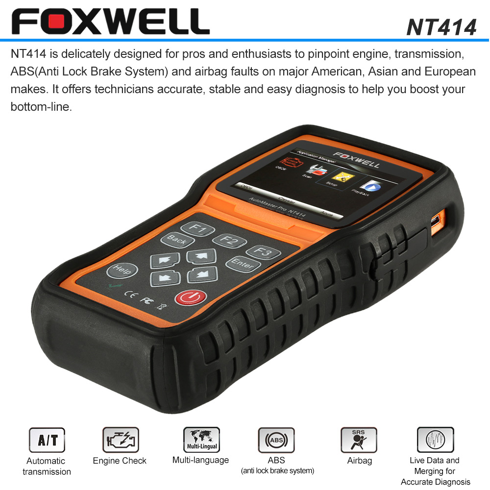 FOXWELL NT414 OBDI OBDII Car Diagnostic Scan Tool Multi-fucntional Scanner Engine Transmission Airbag Trouble Code Reader(China (Mainland))
