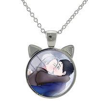 TAFREE japonia Anime YURI!!! Na lodzie szklany wisiorek naszyjnik kolor srebrny ucha Charms łańcuszki naszyjniki kreskówka biżuteria prezent An10(China)