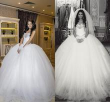 Buy Vestido de Noiva 2017 White Ball Gown Tulle Wedding Dresses Crystals Beaded Wedding Bridal Gowns Robe De Mariage FF51 for $157.24 in AliExpress store