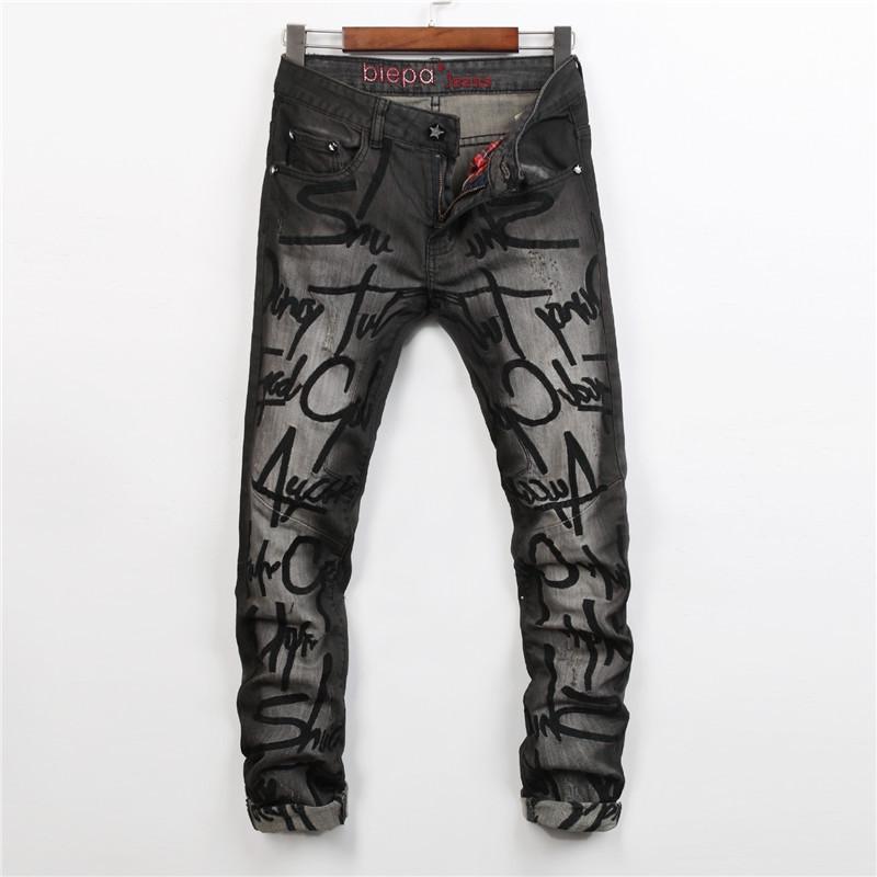 Fashion Men Gray Jeans Slim Fit Man Denim Hiphop Pants Ripped Jeans For Men Moto Jeans Distrressed Designer Style Robin Jeans(China (Mainland))