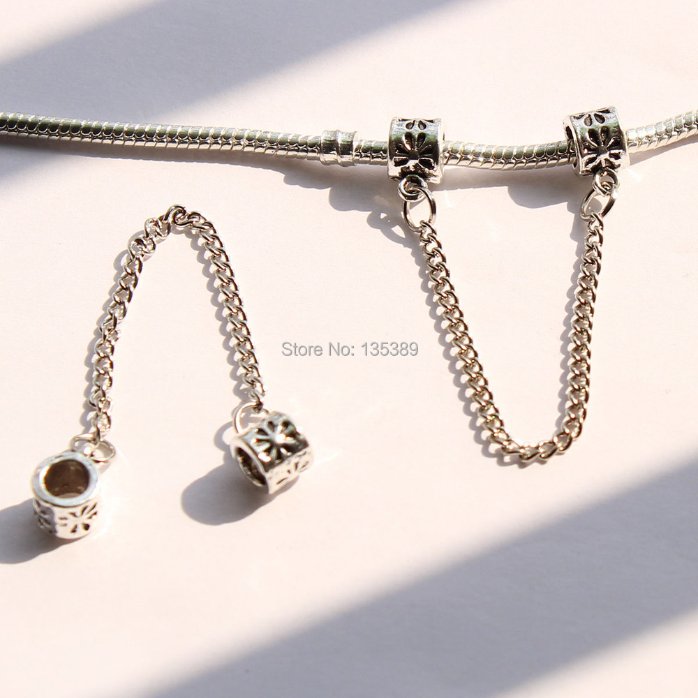 1pc European Silver Safety Chain Beads Diy Bead Charms Fit Pandora Bracelets & Bangles(China (Mainland))