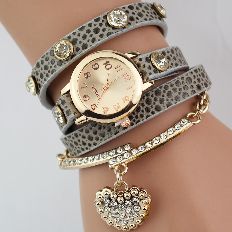 Гаджет  2015 New Arrival Leather Alloy Insert Crystal Love Shape Pendant Bracelet Watch & High Quality Children Quartz Watches Crystal None Часы