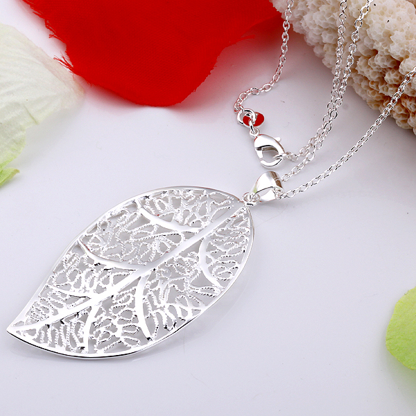 Wholesale 925 Silver Necklace 18 Snake Chain Fashion Hollow Leaf Pendant Necklace For Women Jewlery High