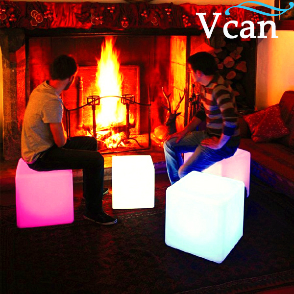 40*40*40cm colours change rechargeable lithium battery remote control Hot LED Furniture LED Light Up Square Cube Chair Seat(China (Mainland))