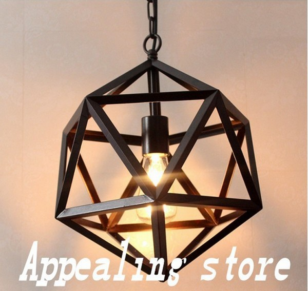 New Nordic Style Vintage Industrial Iron Pendant Light Retro Country Solid Geometric Pendant Light Single Head 33cm or 55 cm(China (Mainland))