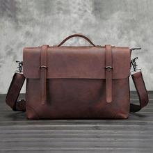 Vintage Genuine Crazy Horse Leather Brown Leather Postman portable shoulder bag Men's Messenger Bag laptops Business Briefcase(China (Mainland))