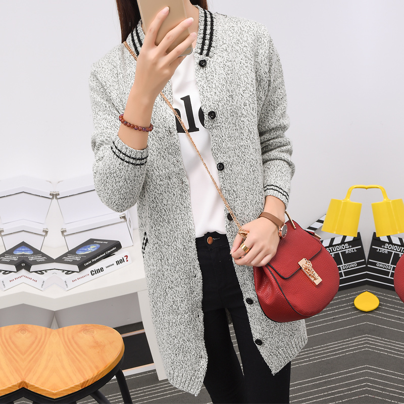 2016 women's wear long baseball shirt pocket show thin buckle children coat sweater knit cardigan my0006(China (Mainland))