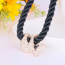 N200360 New Luxurious Elegant crystal Bear Necklace Zinc Alloy 18K Rose Gold Rhodium Plated With Austria crystal Fashion Jewelry(China (Mainland))