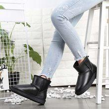 2018 sıcak satış kadınlar 100% hakiki inek derisi deri kar botları ücretsiz kargo kar botları sıcak kış ayakkabı yarım çizmeler(China)