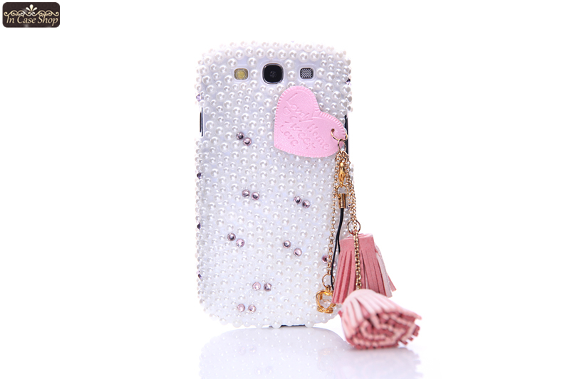 Pearl Tassel Cell Phone Cover Case for Samsung GALAXY S3 I9300 3D Bumper DIY Luxury Rhinestone Fashion Original Gift S102501(China (Mainland))