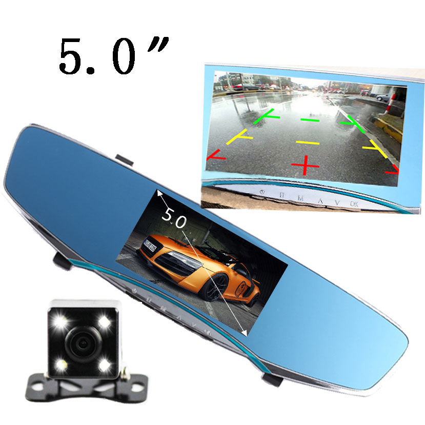 """5.0""""LCD Car DVR Rearview Mirror Camera Dual Lens Full HD 1080P Parking Night Vision Rearview Dash Cam Video Recorder(China (Mainland))"""
