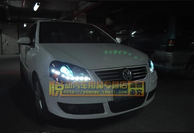 Auto Clud vw polo headlights 06-10 models car styling LED car styling xenon lens car light led bar H7 led parking