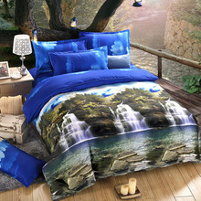 4pcs/set Home Textiles Bedclothes Mountain and Stream Queen Size Duvet Cover+Bed Sheet+2 Pillowcases 3D Printed Bedding Set(China (Mainland))
