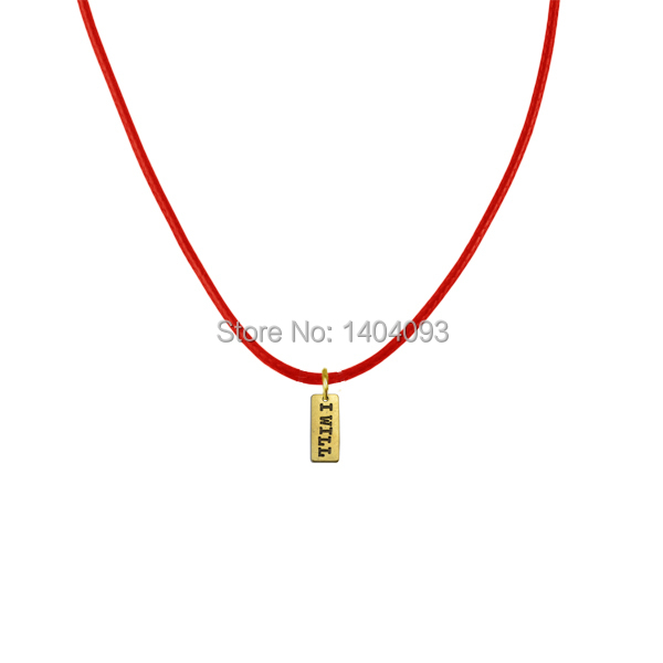 New Fashion 20 Pcs a lot 18k Gold Plated Red Rope Chain Pendant Necklace With I Will Square Charm(China (Mainland))