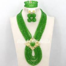 Heiße Neue Brautschmuck Sets Red Nigerianischen Hochzeits Afrikanische Perlen Schmuck-Set Kristall Mode Geschenk Halskette Freies Verschiffen ABJ880(China)