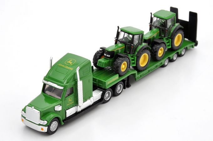 Siku 1837 flatbed trailer truck Low Loader With 2 John Deere Tractors  alloy car model toy 1:87<br><br>Aliexpress