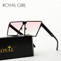 ROYAL GIRL Metal Unique Sunglasses Women Square Vintage retro ombre lens 2017 summer Fashion Glasses SS936