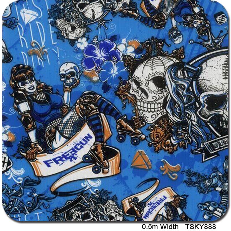TSAUTOP TSKY882 0.5M * 100M New HOT Designs Blue Skull Water Transfer Printing Film Hydrographics Film(China (Mainland))