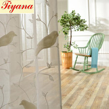 Bird Pattern 3D Embroidery Good Quality Drape Translucidus Sheer Curtain fabric Tulle Voile Curtain Window HOT SALE WP004 *15(China (Mainland))