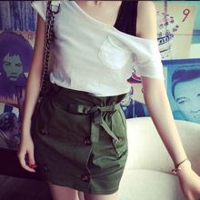 2016 Preppy Style spring new solid color bandage skirt woman green colors button bow straight high waist skirt AW494
