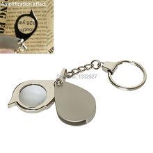Envío gratis nuevo diseño portátil 8X llave plegable lupa anillo con la cadena dominante diario herramienta lupa SGG #