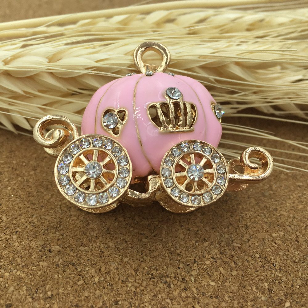 Alloy Oil Drop Rhinestone Pink Princess Carriage Shape Jewelry Necklace Pendant Fashion Cell Phone Decoration DIY Stikers(China (Mainland))
