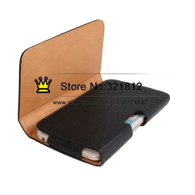 Hip Leather Pouch For Iphone 6 6G 5.5 Clip Belt Plain / Leechee Litchi Style Black Holster Case Pouches 35PCS(China (Mainland))