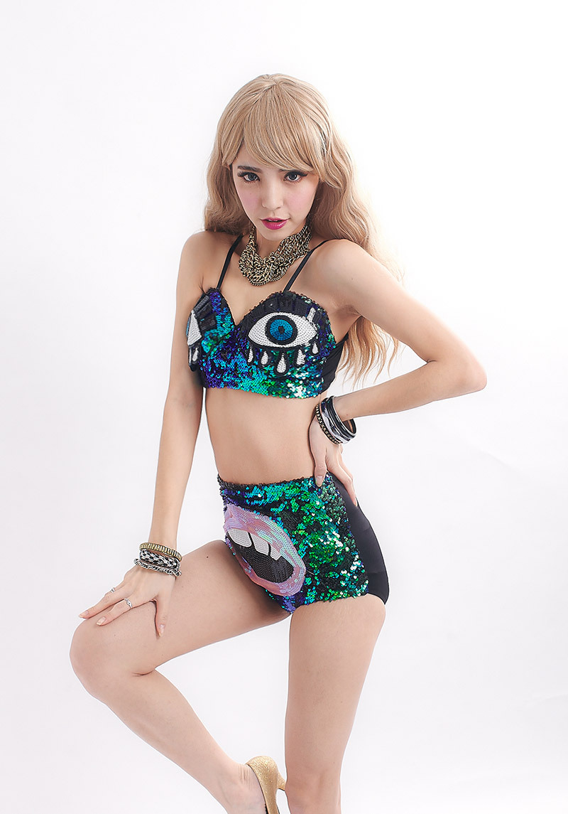 Eye Red Lip Design Green Sequined Tops Shorts Suit for Women Bling Bling Costumes BAR Party Regular DS Sexy Lingerie Bustier(China (Mainland))