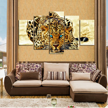 free shipping Cheap wall art canvas paintings ,NO frame 5 panels  Abstract Leopards art Canvas Print for Living Room Decoration