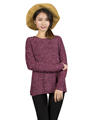 Spring Autumn Women Mixed Color Wool Plus Size Oversized Loose Knitted Pullover Jumper Sweater O Neck