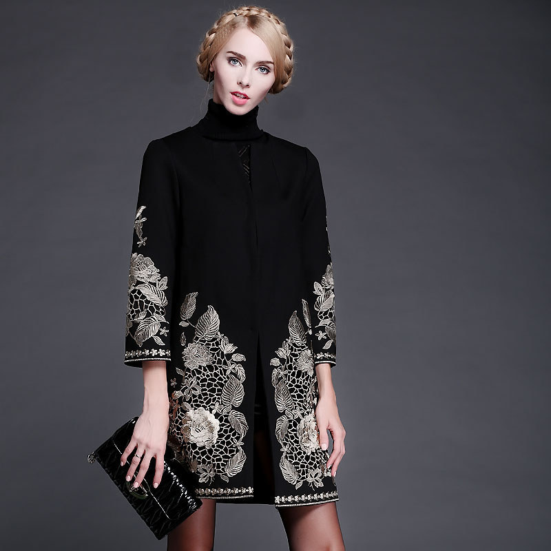 S-XXL 2014 Autumn Winter Europe and USA Designer Catwalk Model Heavy Gold Line Embroidery Long Sleeve Slim Woolen Coat 1016������ � ����������<br><br>