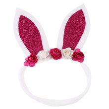 1pcs ขาย Glitter กระต่ายหู Headband เด็กดอกไม้ไนลอนวงผมสาวกระต่ายไนลอน Headbands อีสเตอร์อุปกรณ์เสริมผม(China)