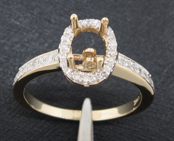 5x7mm Oval SOLID 14CT Yellow GOLD NATURAL DIAMOND ENGAGEMENT SEMI MOUNT RING, FREE SHIPPING<br><br>Aliexpress