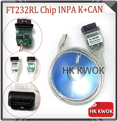 Green PCB Diagnostic Tools With FT232RL Chip for BM W INPA / Ediabas K+DCAN USB Interface D-CAN CAN Scan Reader OBD OBD2 Cable(China (Mainland))
