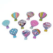 Free Shipping 50pcs Mixed 2 Holes Mixed Balloon Wood Buttons Sewing Scrapbooking 30x23mm F1099(China (Mainland))