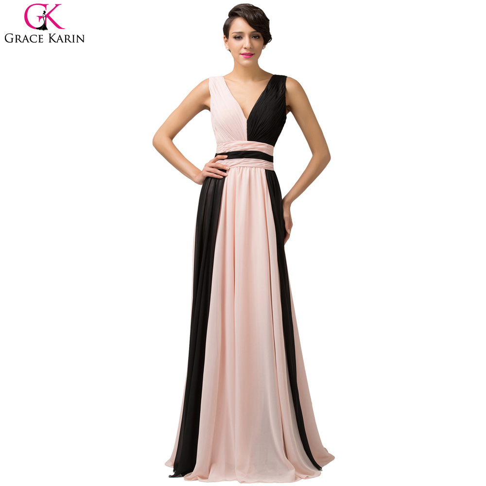 Long evening dresses 2016 grace karin v neck ombre for Formal long dresses for weddings