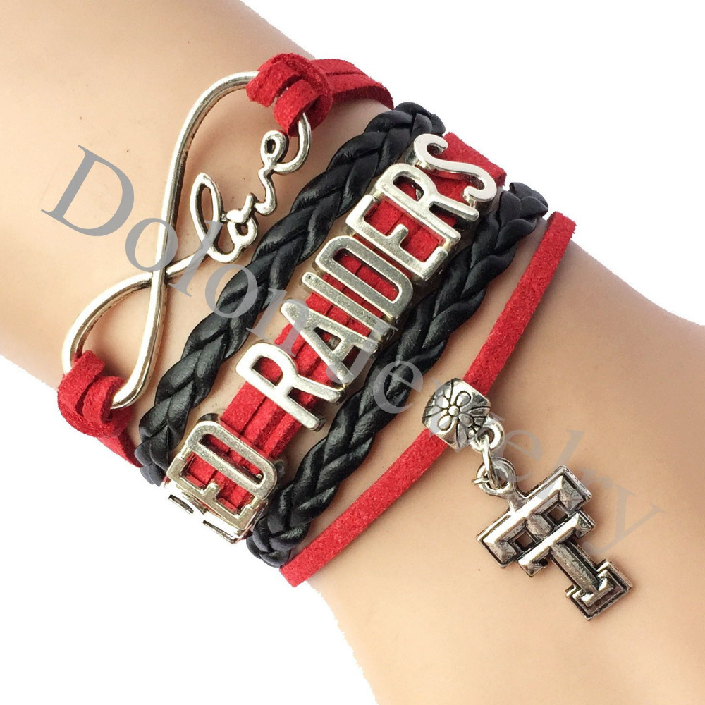 Custom Infinity Love Texas Tech Red Raiders USA Football Team Bracelet Gift for Sports Club Name Jewelry(China (Mainland))