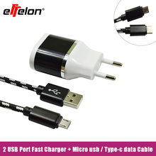 Buy Effelon 2.1A EU Wall Charger + Micro USB Cable/Type c/8 pin cable Samsung Galaxy/iphone 5 6 7/ipad/xiaomi 4c/lg g5/huawei for $4.58 in AliExpress store
